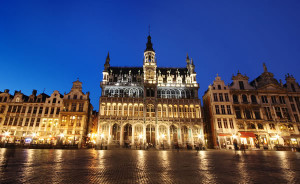 Grand Place buildings from Brussels, Belgium (night shot)