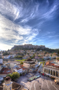 Monastiraki square and Acropolis in Athens,Greece